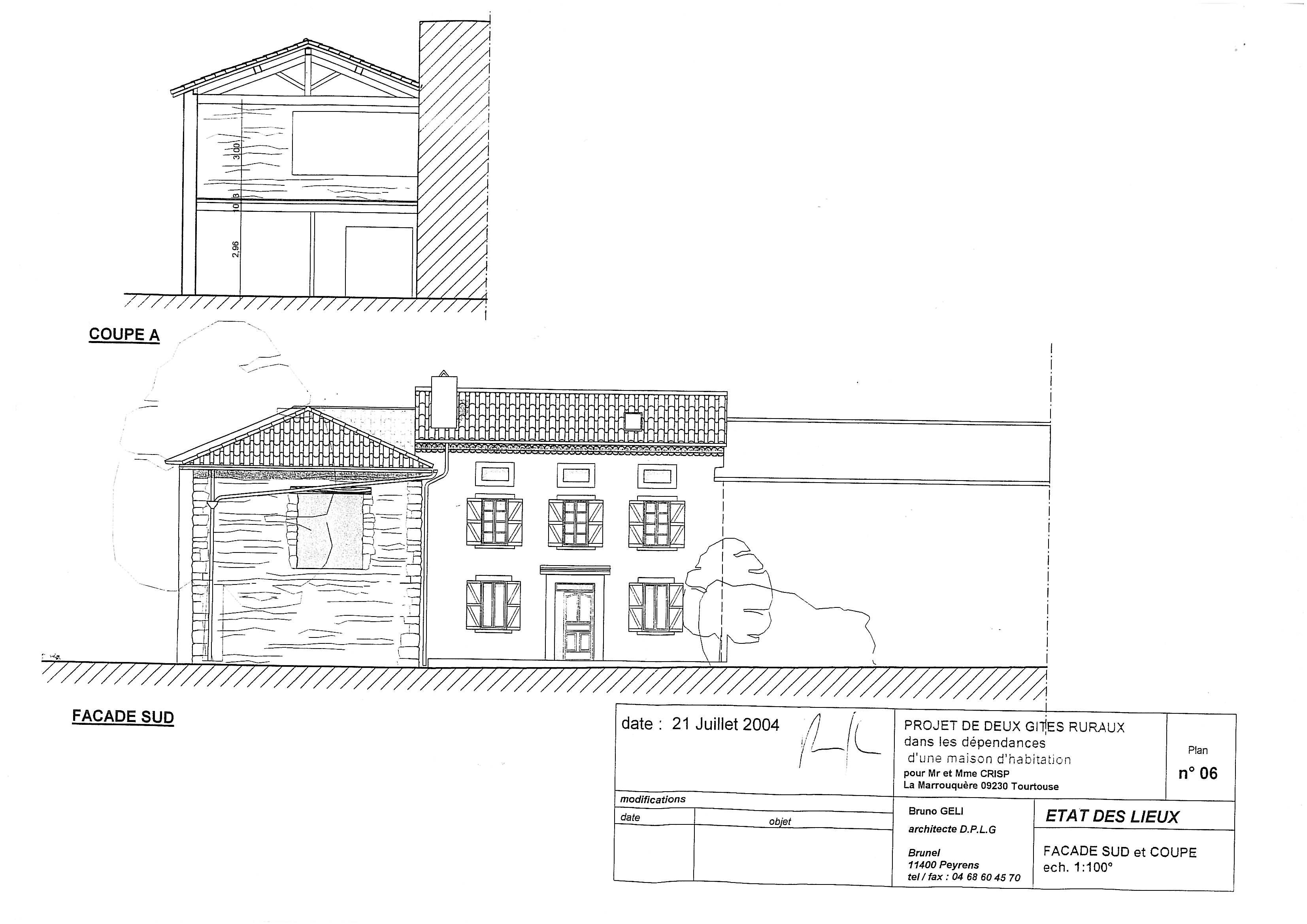 Plan d 39 une facade maison moderne - Plan coupe facade maison ...