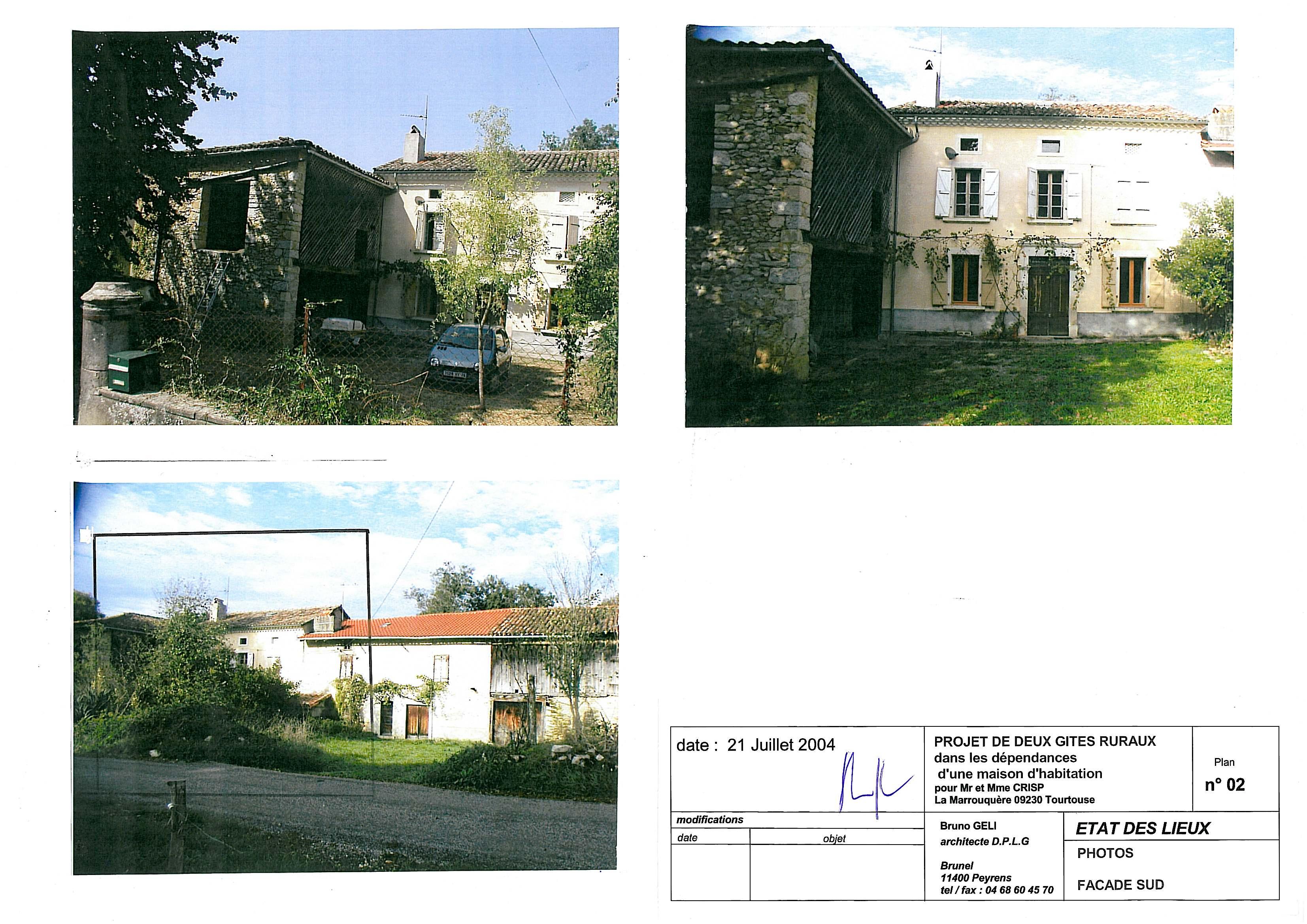 Etat des lieux,  photos façade Sud