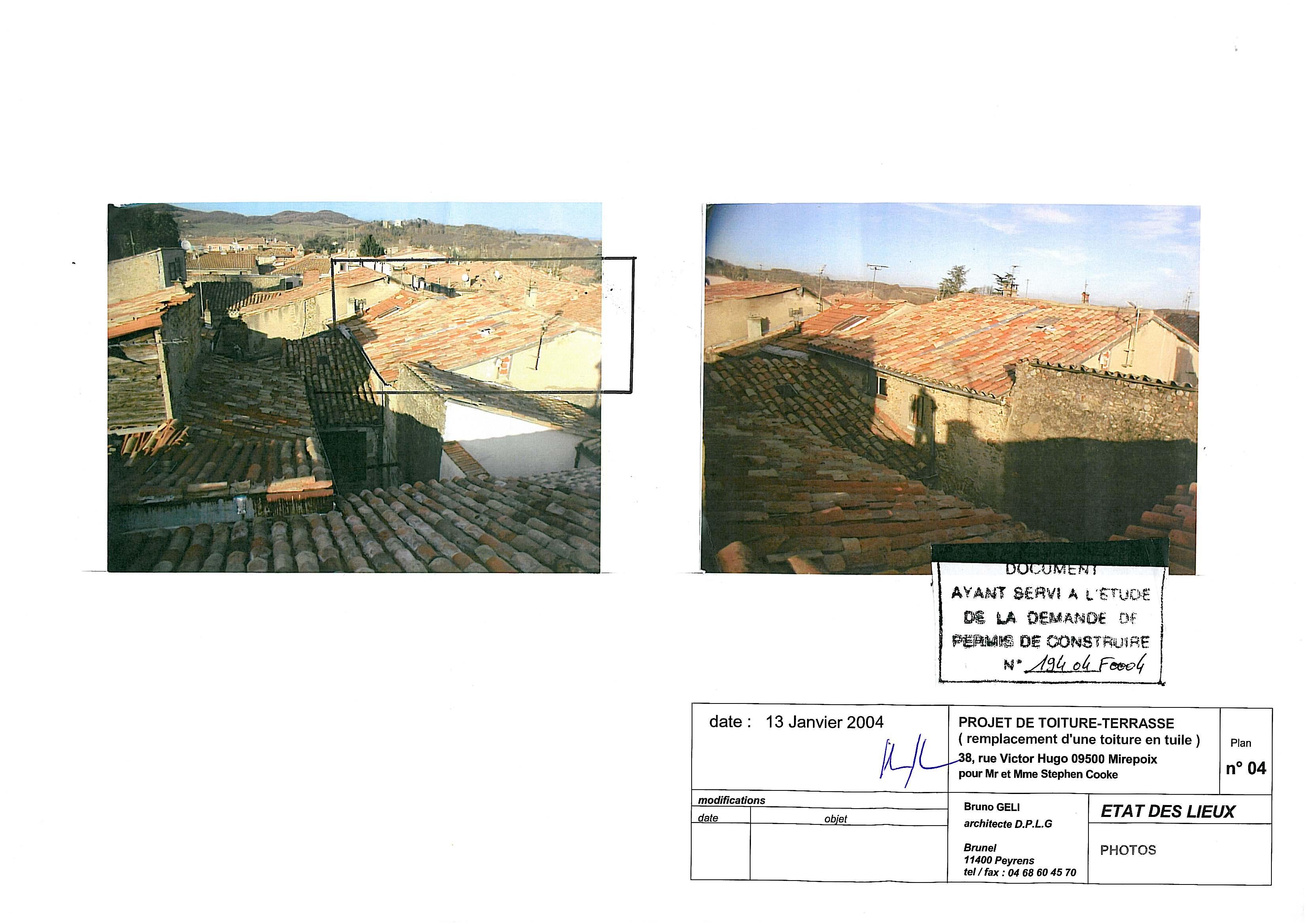 Etat des lieux, vues des toitures