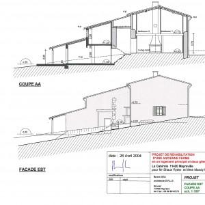 Projet , façade Est et coupe