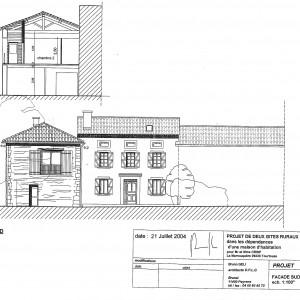 Projet, façade Sud et coupe