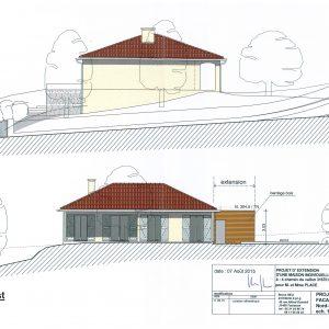 Projet; façades Nord-Est et Nord-Ouest