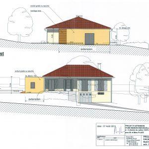 Projet; façades Sud-Ouest et Sud-Est