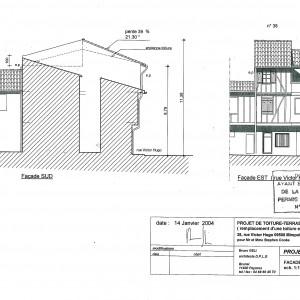 Projet, façades Sud et Est